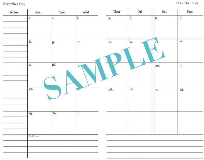 2018 Month On 2 Pages Printable Insert A5 Sized Strange