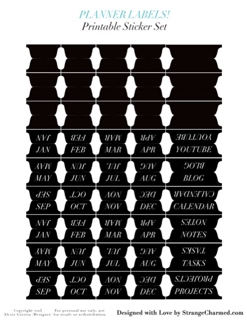 Planner & Notebook Labels {Printable Sticker Tabs