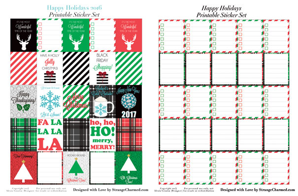 Happy Holidays 2016 Printable Sticker Set