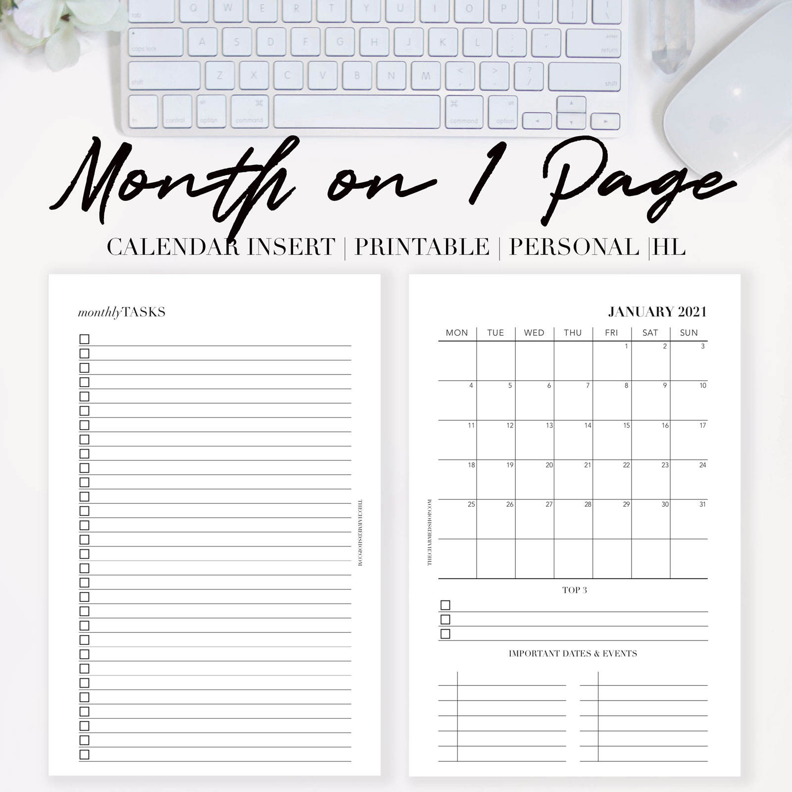 2021 Month on One Page Calendar {Printable PDF} - The ...
