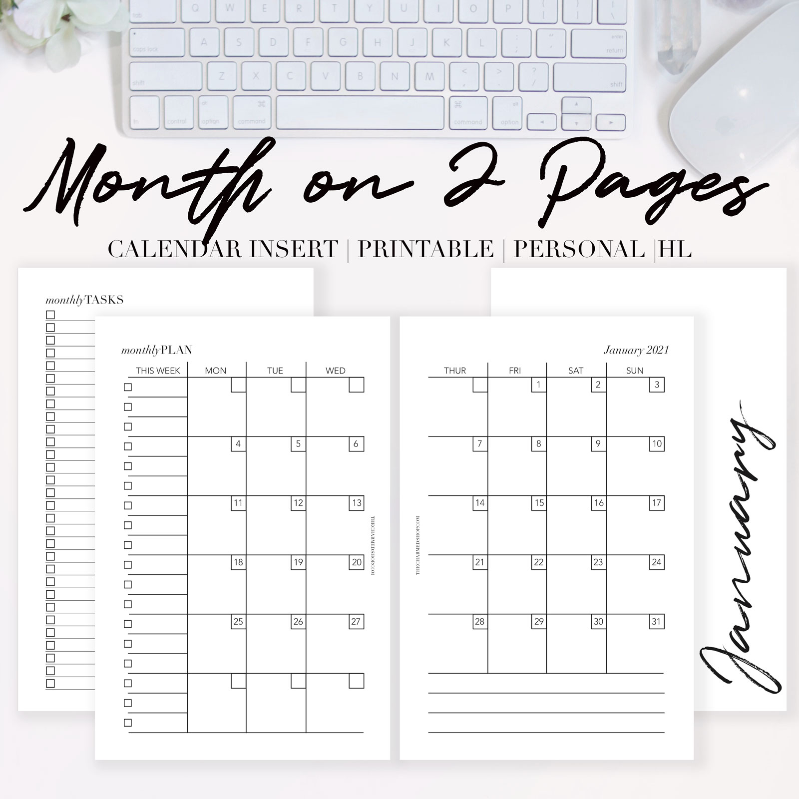 2021 Month on Two Pages Calendar {Printable PDF} - The ...