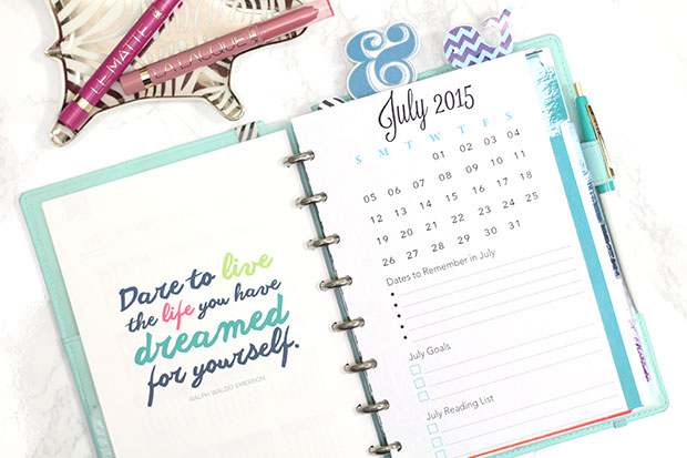 July dashboard free printable strange charmedstrange for What is a planner dashboard