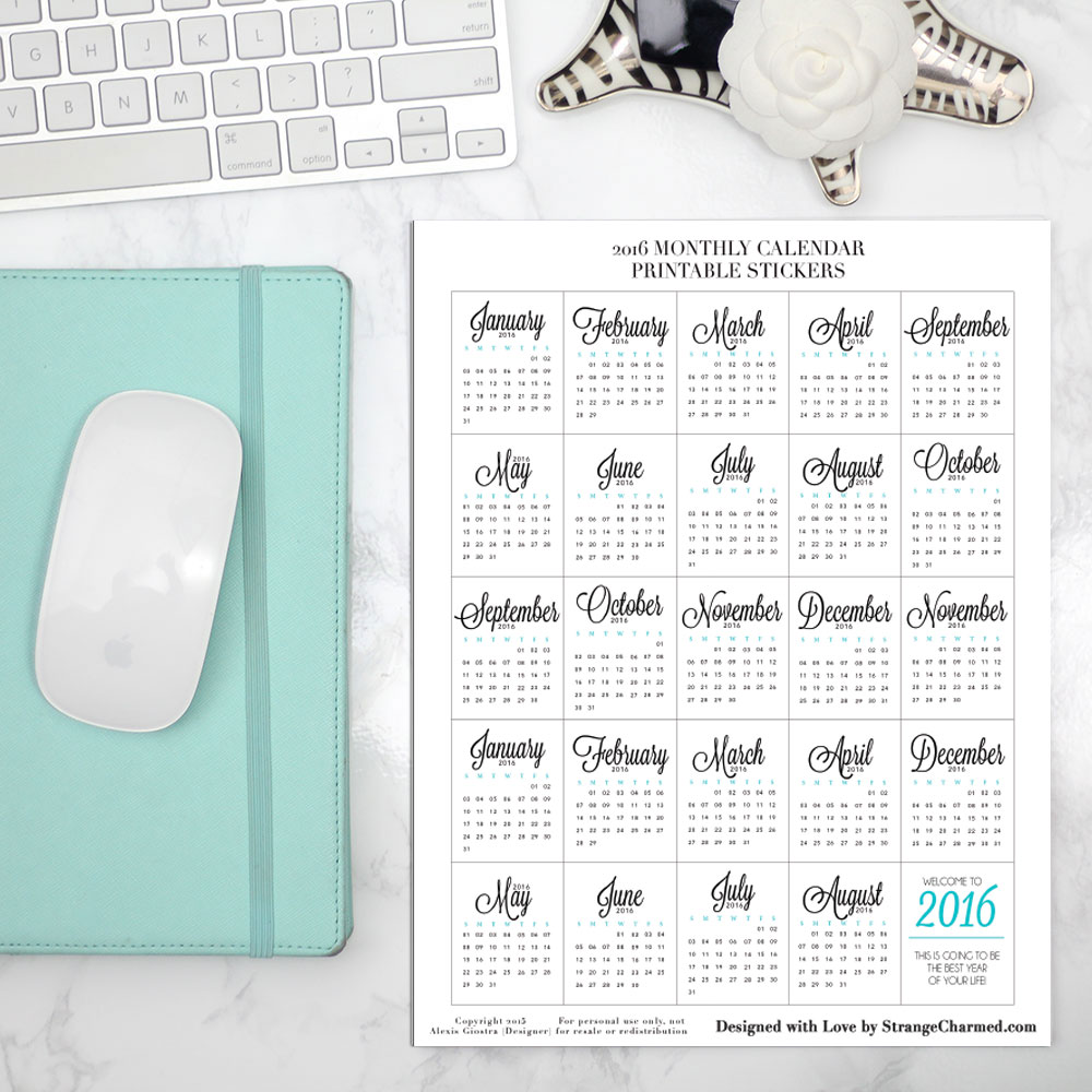 2016 Calendars, Planning Supplies & Freebies!
