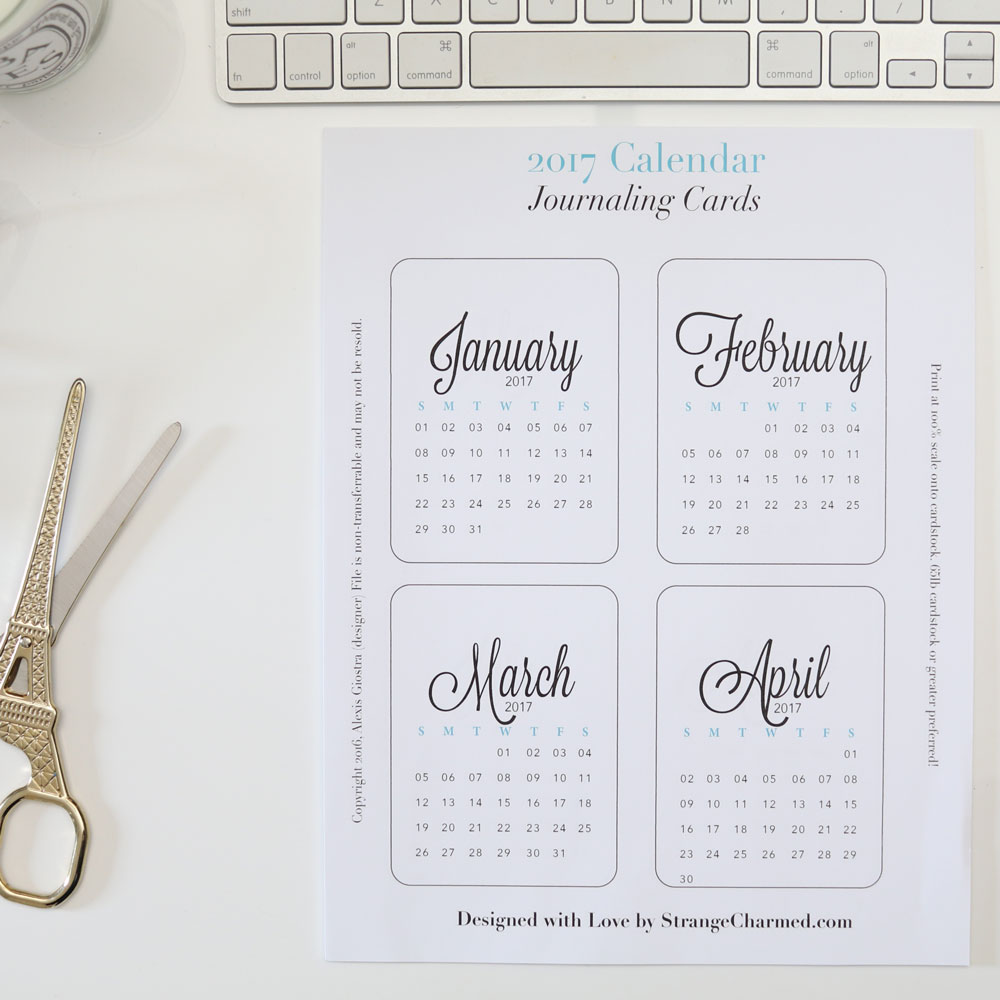 2017 Monthly Calendar Printable Journaling Cards for Planner, Desk or Purse!