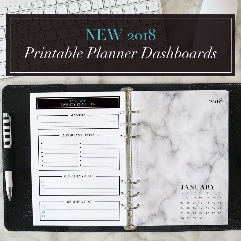 January 2018 Printable Planner Dashboard