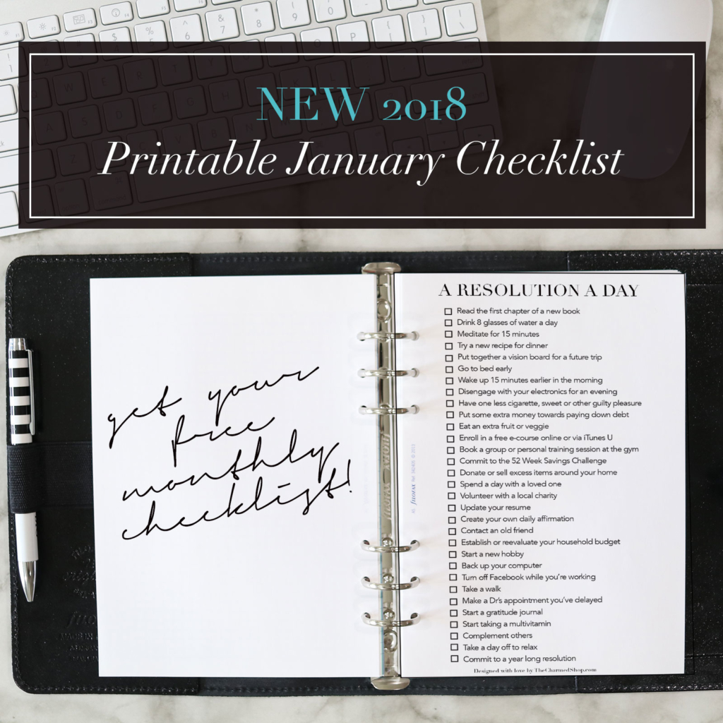 January 2018 FREE Printable Checklist: A Resolution a Day!